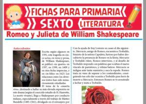 Ficha de Romeo y Julieta de William Shakespeare para Sexto Grado de Primaria