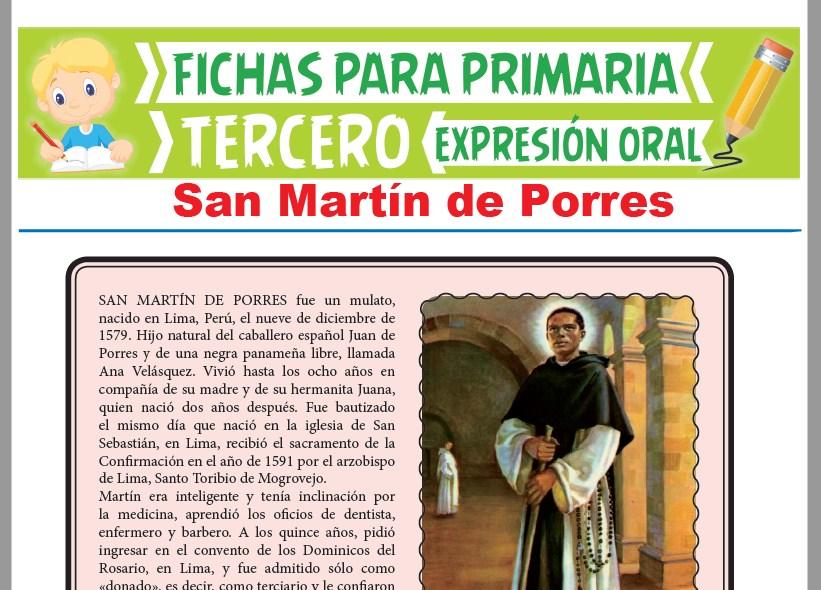 Ficha de San Martín de Porres para Tercer Grado de Primaria