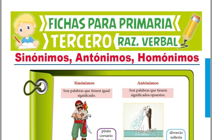Ficha de Sinónimos, Antónimos y Homónimos para Tercer Grado de Primaria