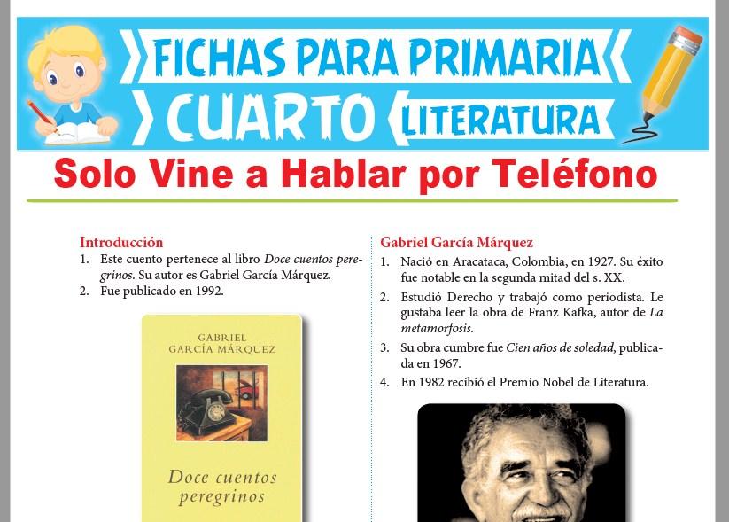 Ficha de Solo Vine a Hablar por Teléfono para Cuarto Grado de Primaria