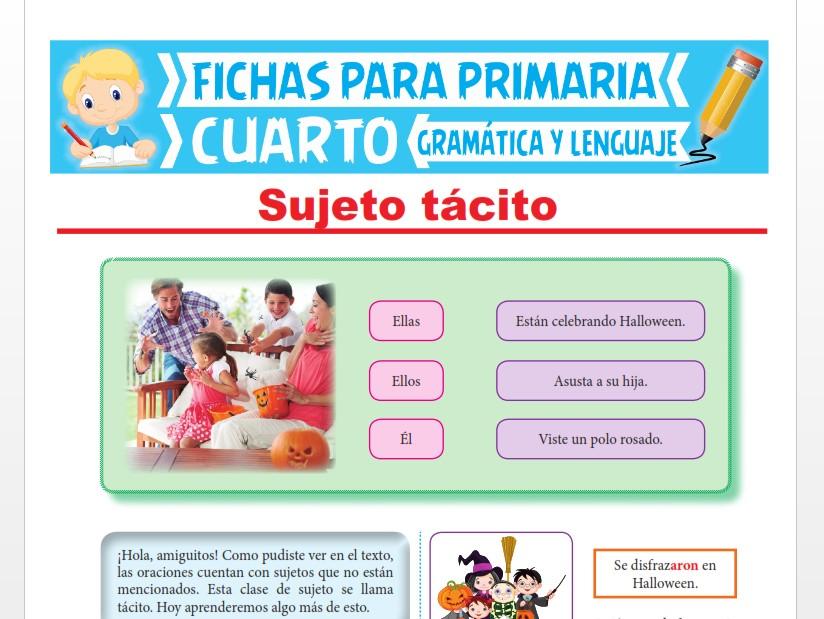 Ficha de Sujeto Tácito para Cuarto Grado de Primaria