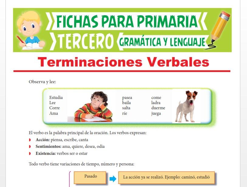 Ficha de Terminaciones Verbales para Tercer Grado de Primaria