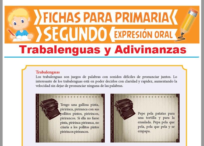 Ficha de Trabalenguas y Adivinanzas para Segundo Grado de Primari