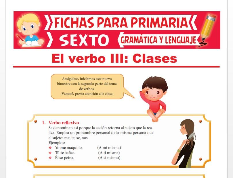 Ficha de Verbo Reflexivo, Recíproco e Impersonal para Sexto Grado de Primaria